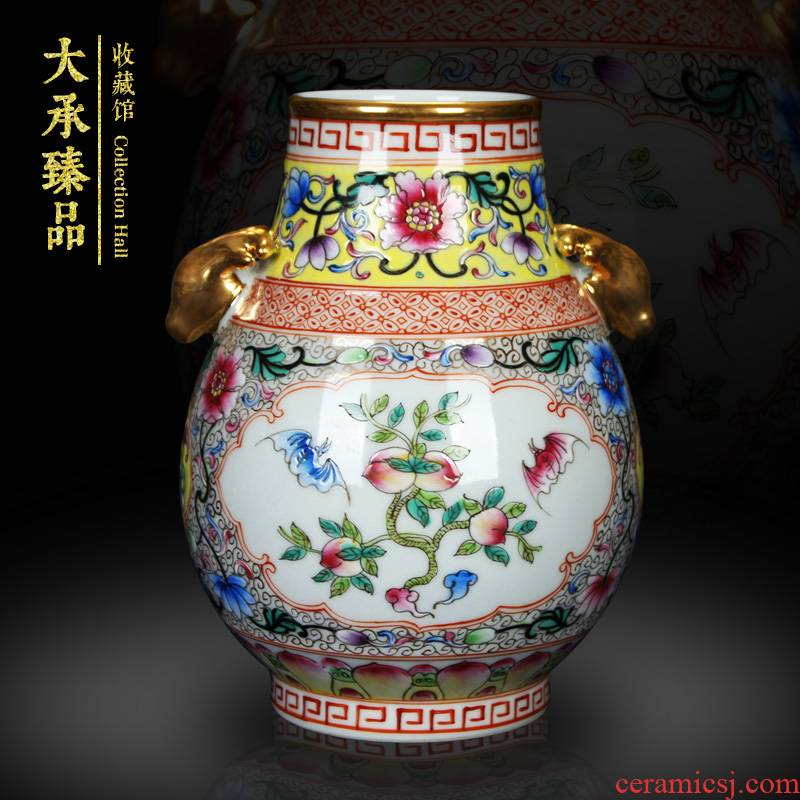 Jingdezhen antique gold enamel ears open flowers deer head altar vase decoration handicraft furnishing articles study