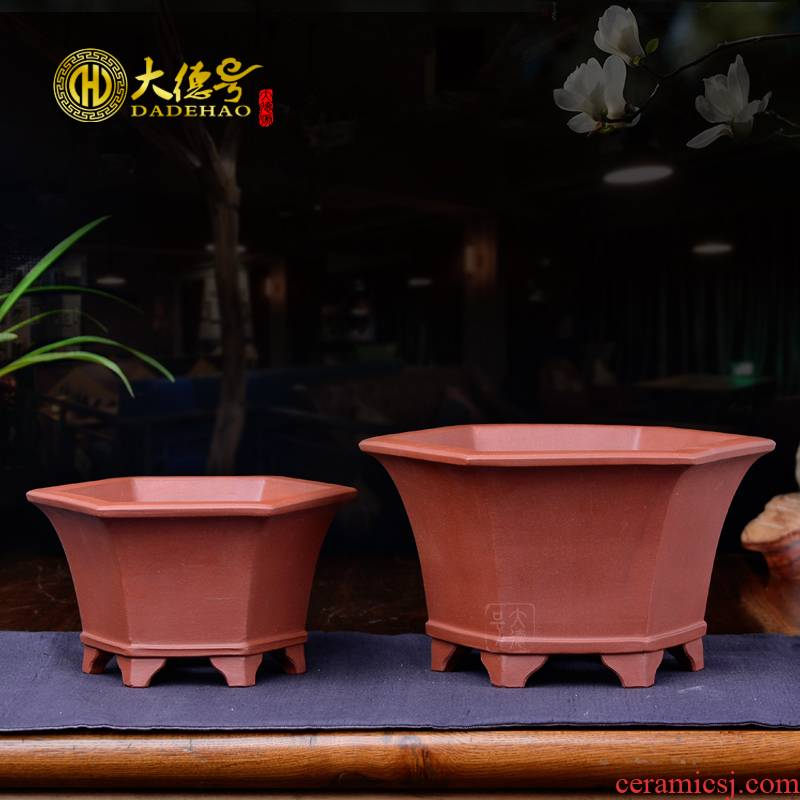 Yixing purple sand flowerpot high - quality goods sling short of orchid the six - party flowerpot asparagus potted potted flower of bracketplant of the green plant