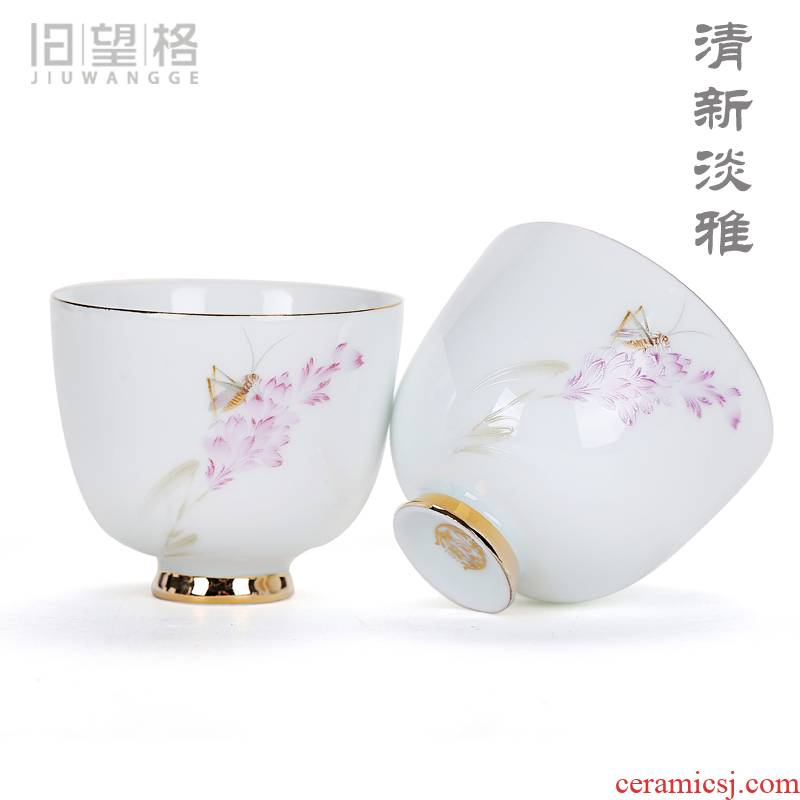Cixin qiu - yun old ceramic kung fu tea set at the grid sample tea cup fresh white porcelain paint large cups individual cup single CPU