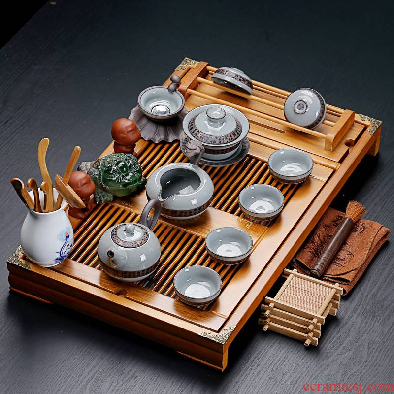 Old &, ceramic purple white porcelain kung fu tea set suits for stand solid wood tea tray was large drainage home tea table