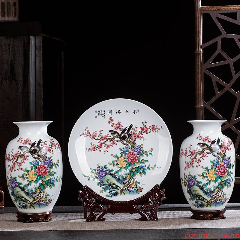 Jingdezhen ceramics three - piece vase sitting room adornment hang dish gift flower arrangement of Chinese style household wine furnishing articles