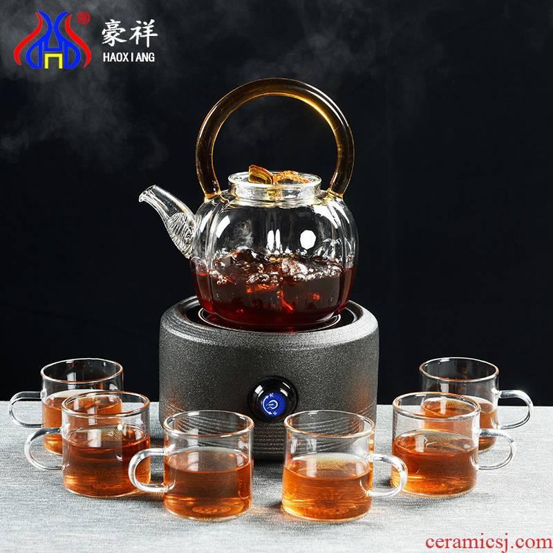 Howe auspicious glass boiled tea ware ceramic company - thermal TaoLu, black and white pu 'er tea boiling tea stove tea suit household the teapot