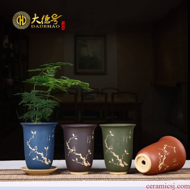 High - quality goods even carved painting creative potted the plants indoor purple sand flowerpot more meat meat meat flower pot in the tray