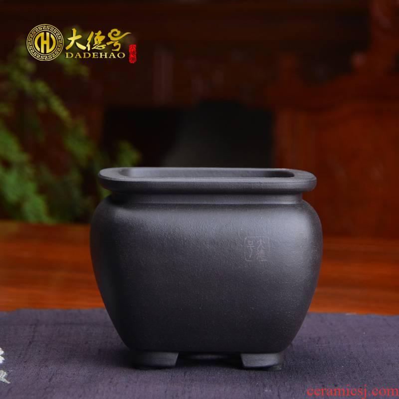 Flowerpot ceramic beam expressions using square black mud boutique purple sand Flowerpot indoor small bonsai pot meaty plant asparagus pot