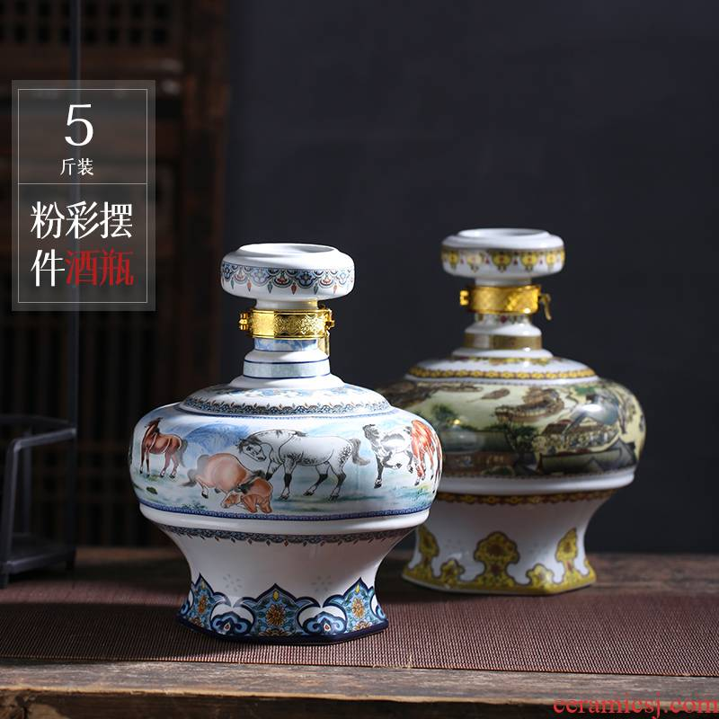 Jingdezhen ceramic bottle 5 jins of eight jun figure household bottle 5 jins of empty jars bottle seal hip flask