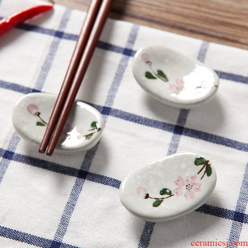 Jingdezhen ceramic high - temperature coloured drawing or pattern and use chopsticks chopsticks frame frame hotel restaurant chopsticks pillow chopsticks spoon holder