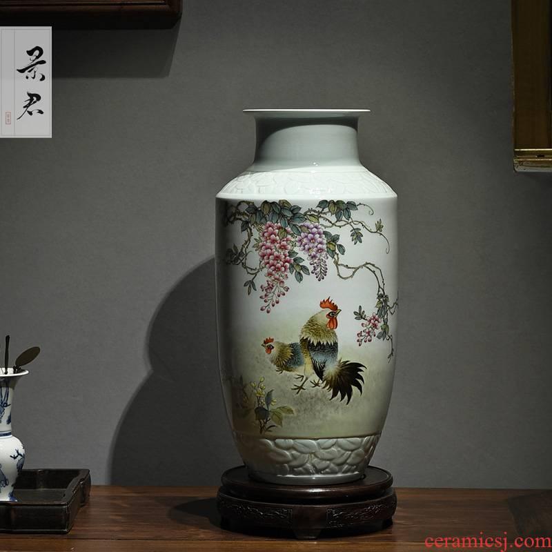 Jingdezhen hand - made pastel barrels bottle master porcelain vase furnishing articles sitting room adornment flower arranging ceramic flower vases