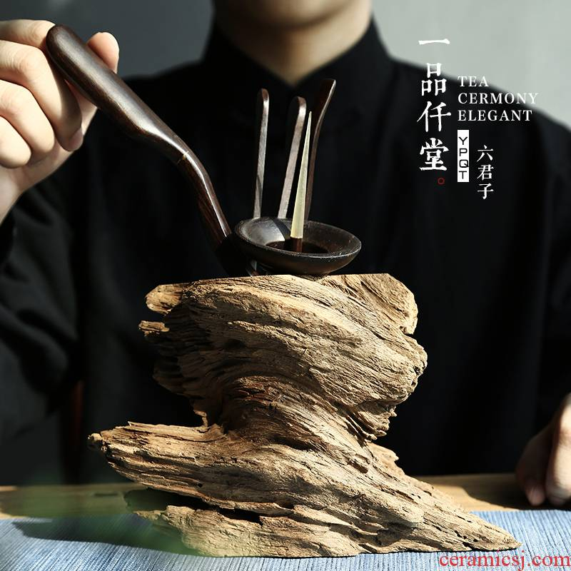 Yipin thousand hall tea six gentleman 's solid wood tea accessories ebony dead chicken wings wood 6 gentleman tea tool