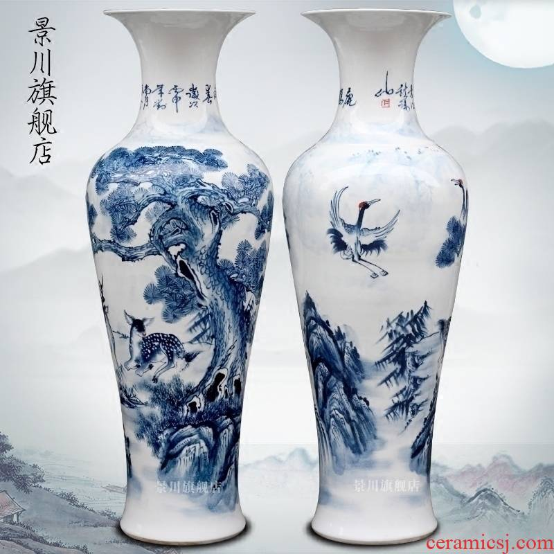 Jingdezhen porcelain ceramics hand - made LuHe with spring of large vases, sitting room of Chinese style household furnishing articles decorations