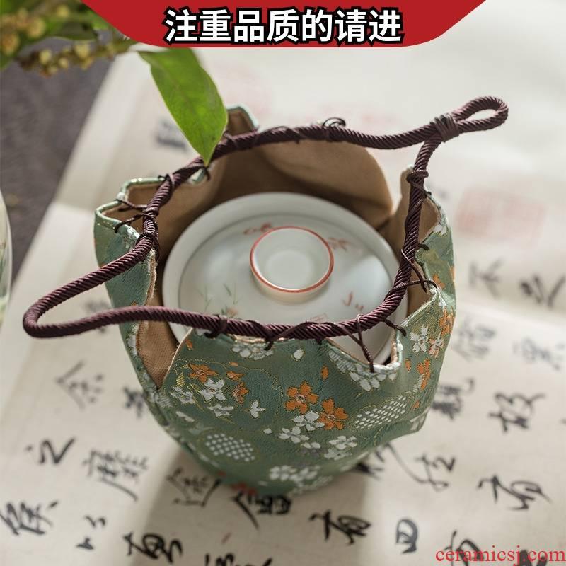Jingdezhen Chinese checking brocade shi fu bag caddy fixings tureen the receive bag bag tea taking master CPU