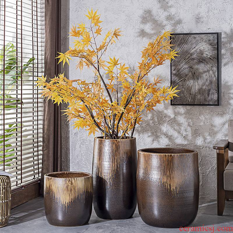 Landscape garden villa decoration flower arranging furnishing articles to restore ancient ways do old dark large ceramic vase landing creative flower pot