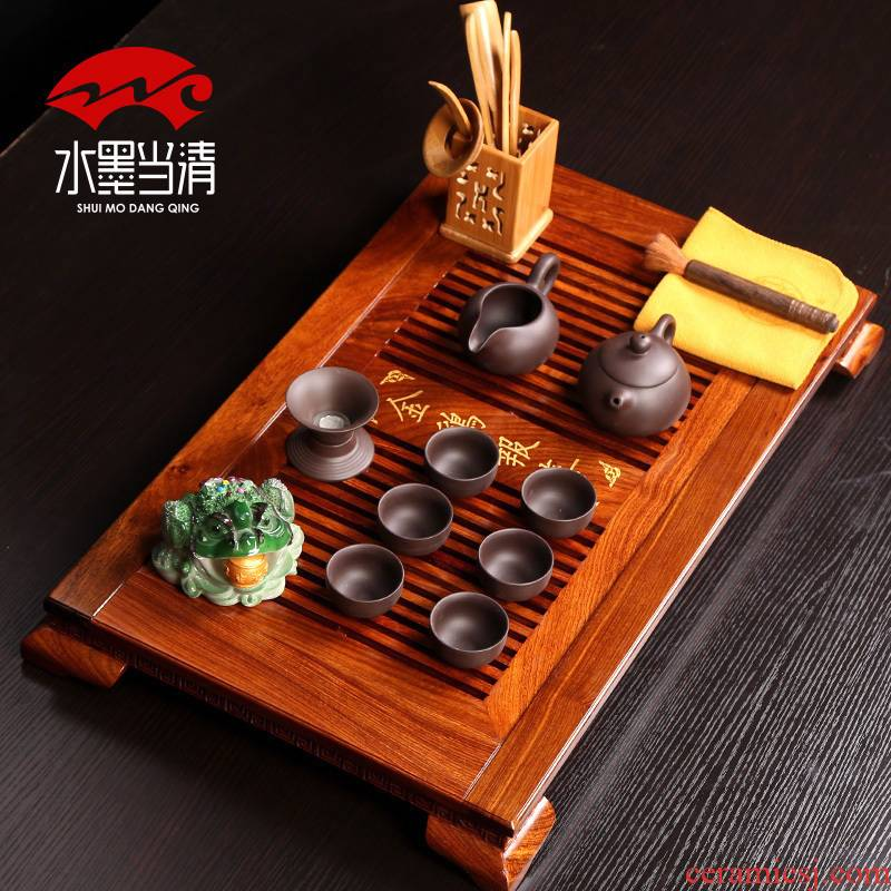 Small kung fu tea set pack of a complete set of household mini move block tea tray is solid wooden simple ceramic tea six people