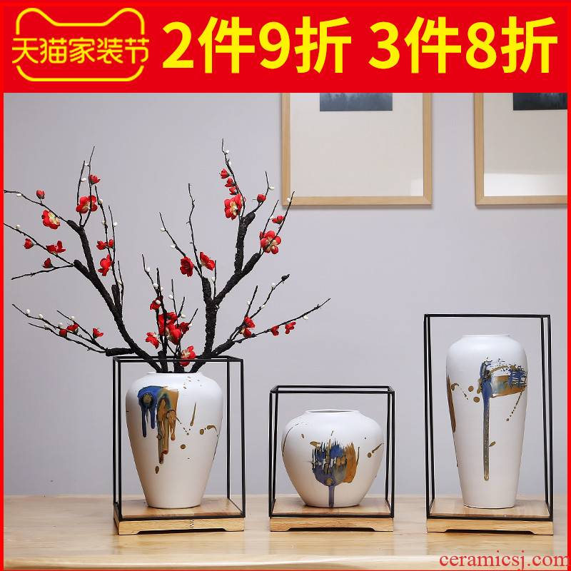 Jingdezhen ceramics vase Chinese style is I sitting room manual creative furnishing articles flower arrangement craft white suit