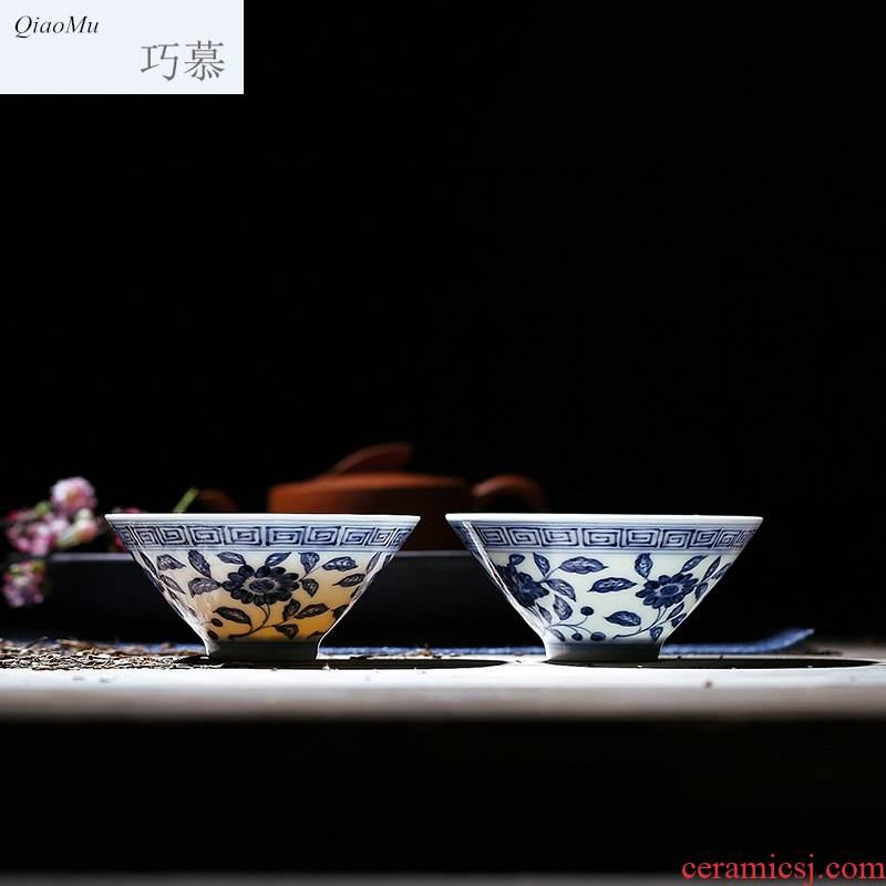 Qiao MuQuan manual jingdezhen blue and white hat cup hand - made teacup single cup pure manual tea masters cup is small
