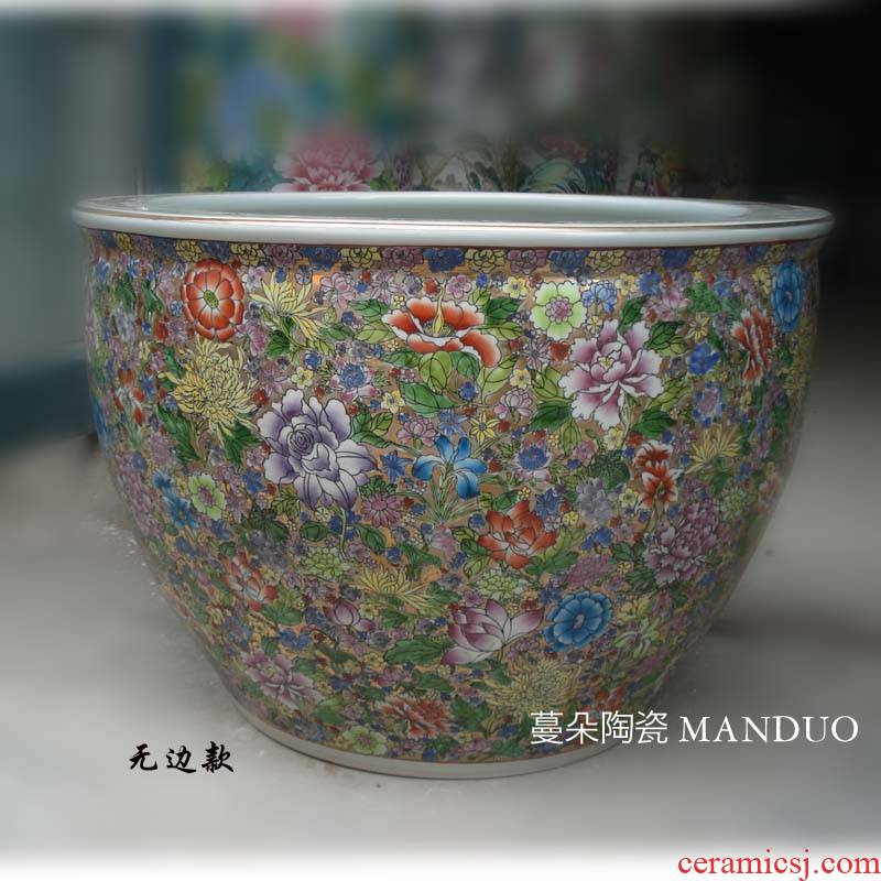 Jingdezhen manual pastel painting peony vats over porcelain art display VAT wealth and key-2 luxury