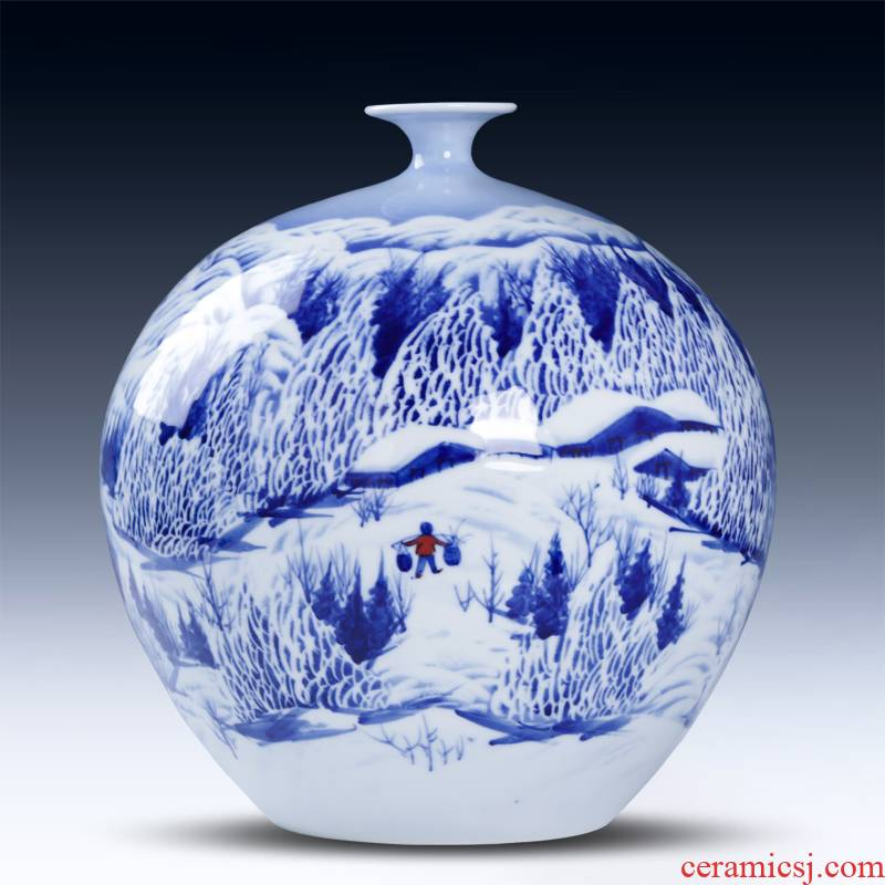 Jingdezhen ceramics manual hand - made snow bumper harvest of blue and white porcelain vase pomegranate bottles of sitting room adornment is placed
