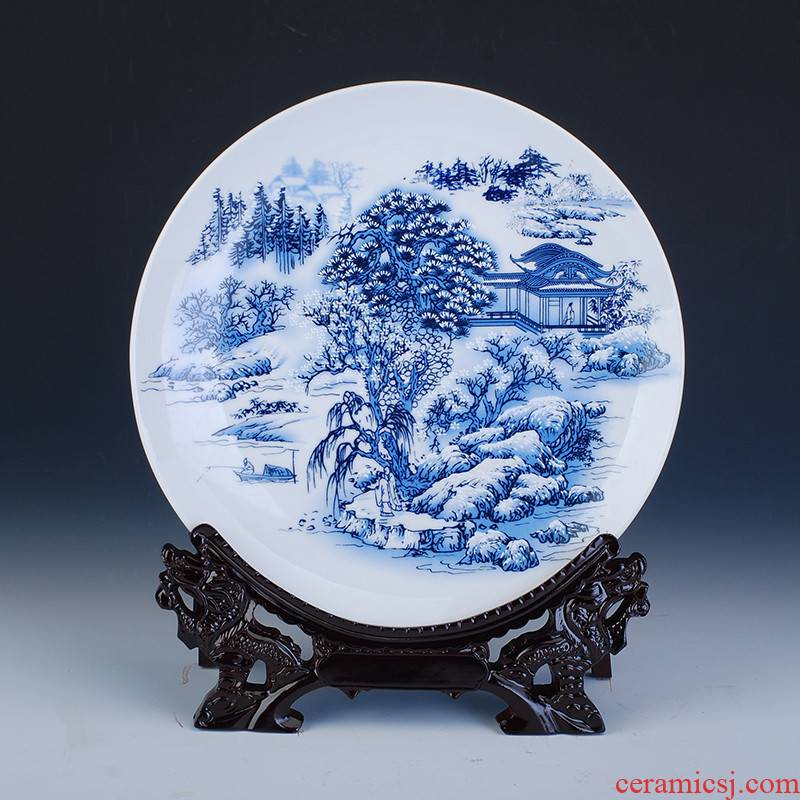 352 hang dish of pottery and porcelain decorative plate of jingdezhen blue and white porcelain ceramic decoration home decoration handicraft furnishing articles