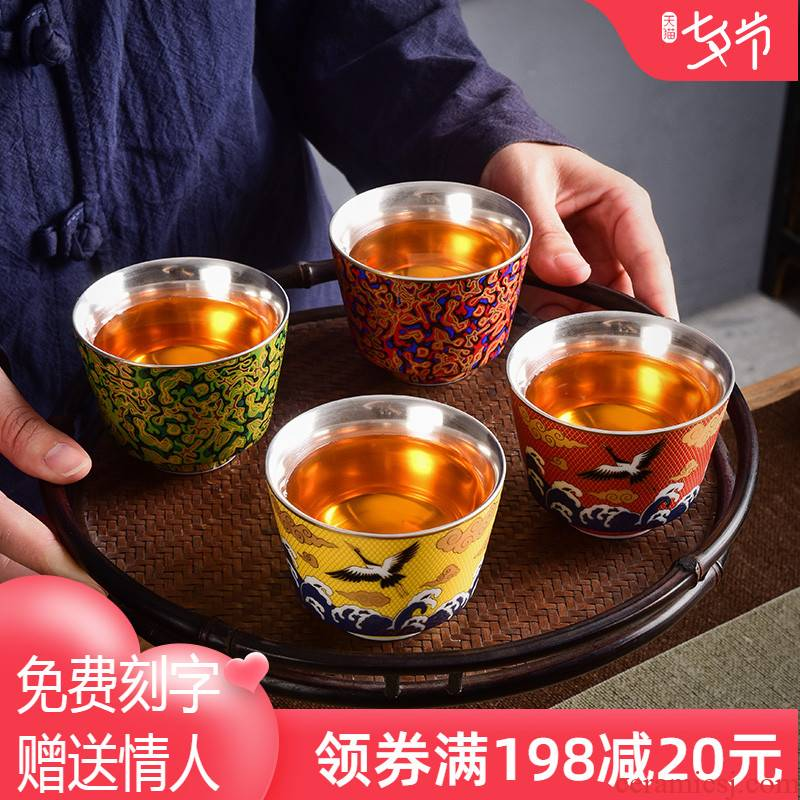 Jingdezhen ceramic cups fang Chinese lacquer kung fu tea set silver cup 999 silver bowl master cup single CPU