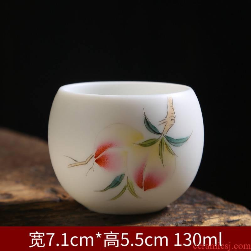 Dehua hand - made white porcelain ceramic cups kung fu tea master cup single cup large thin foetus pu - erh tea tea sample tea cup
