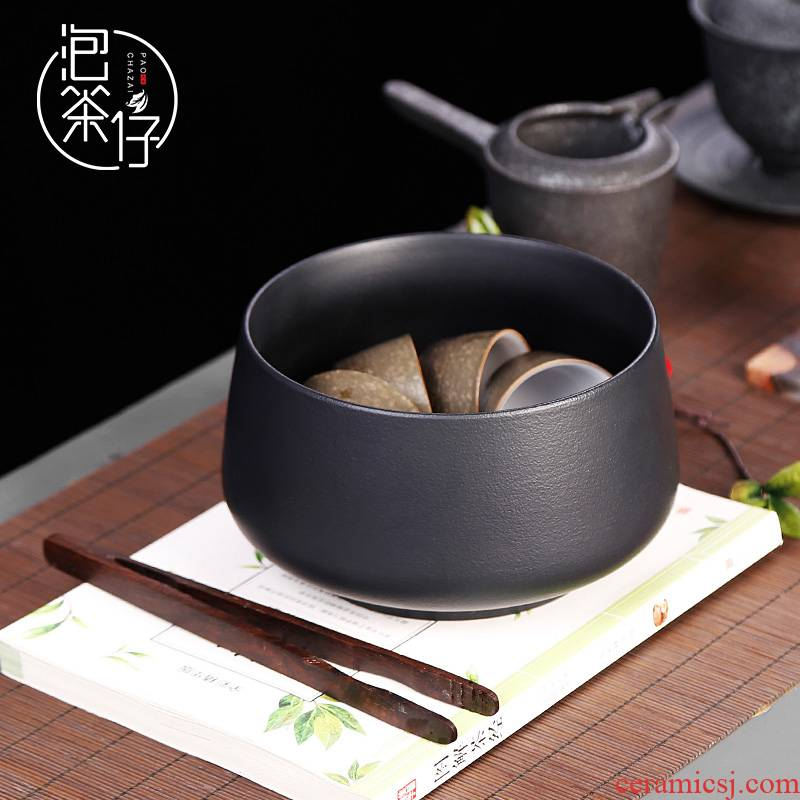 Tea seed Japanese black pottery Tea wash to household size zen ceramic wash bowl for wash basin of wash cup cup of vessels