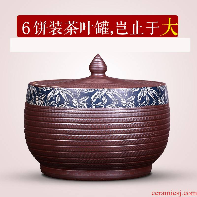 Pure manual imitation of violet arenaceous caddy fixings large jingdezhen ceramics with cover household large capacity tea cake tea urn storage tanks