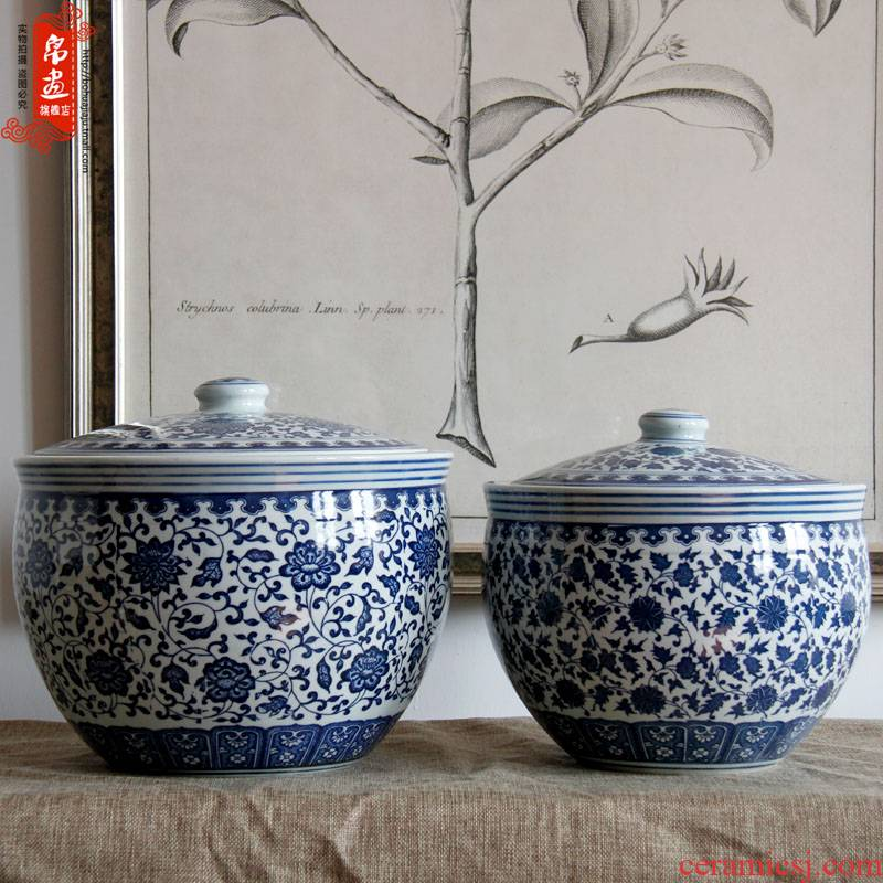 Shadow enjoy   ceramic barrel jingdezhen blue and white porcelain ceramics powder caddy fixings it furnishing articles JH