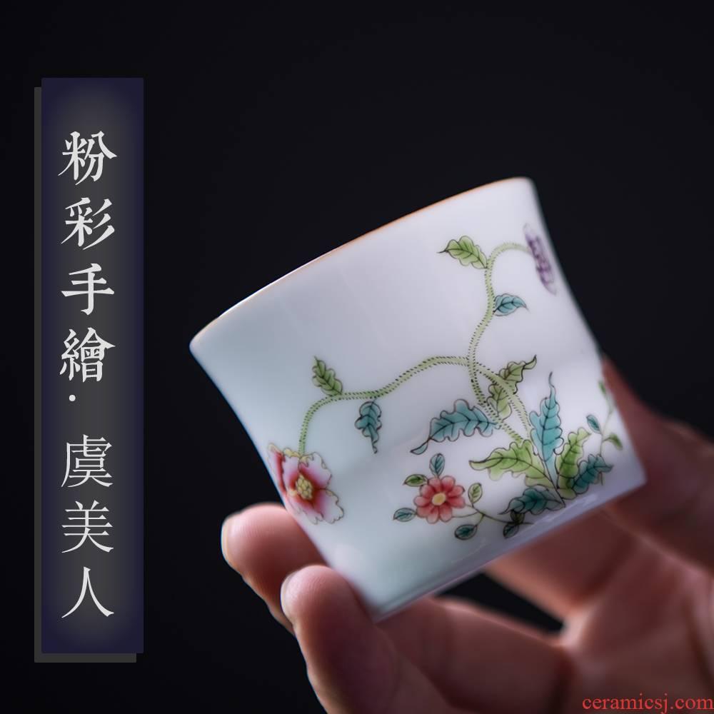 24 is pastel hand - made noggin kung fu tea set jingdezhen ceramic cup single CPU single single master