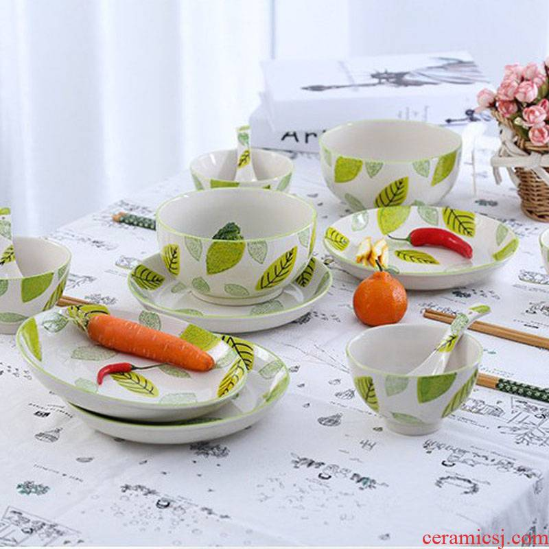 The Nordic INS hand - made leaves under glaze color porcelain tableware creative western food steak dishes household food dish bowl of soup bowl
