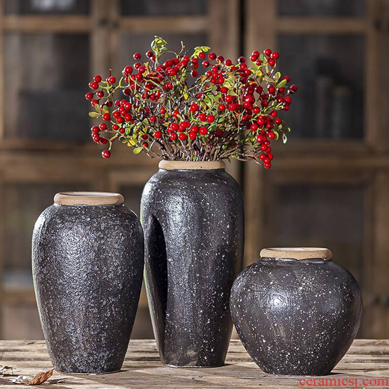 Black ceramic vase flower arranging flowers water raise the table sitting room adornment creative clay coarse pottery China restoring ancient ways