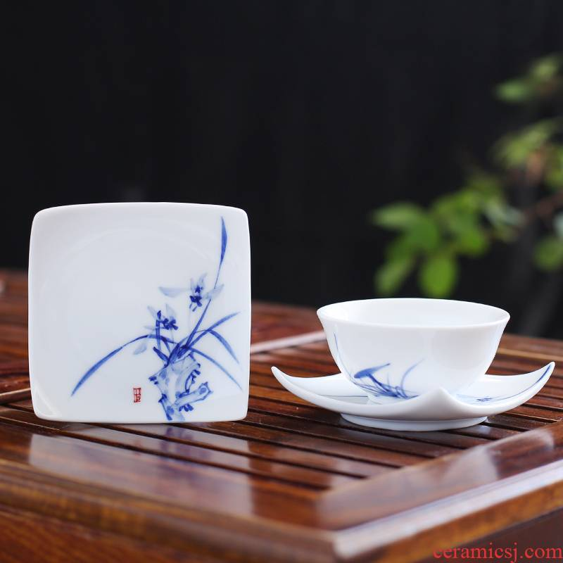 . Poly real view jingdezhen ceramic cup mat saucer hand - made kung fu tea tea with parts of blue and white porcelain insulation