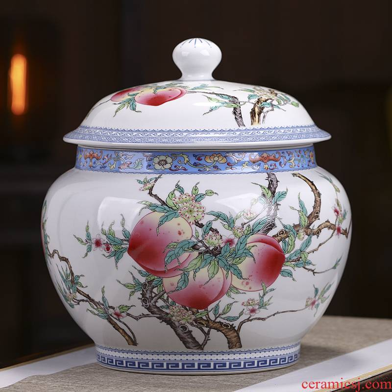 Jingdezhen ceramic tea pot large household porcelain seal pot puer tea cake tea urn with cover storage tank