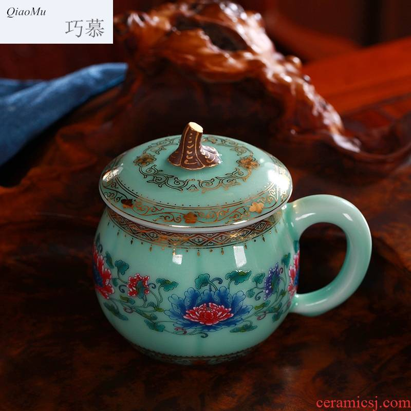 Qiao mu gold coloured drawing or pattern longquan celadon teacup ceramic cup with cover pumpkin creative office cup with cover cups