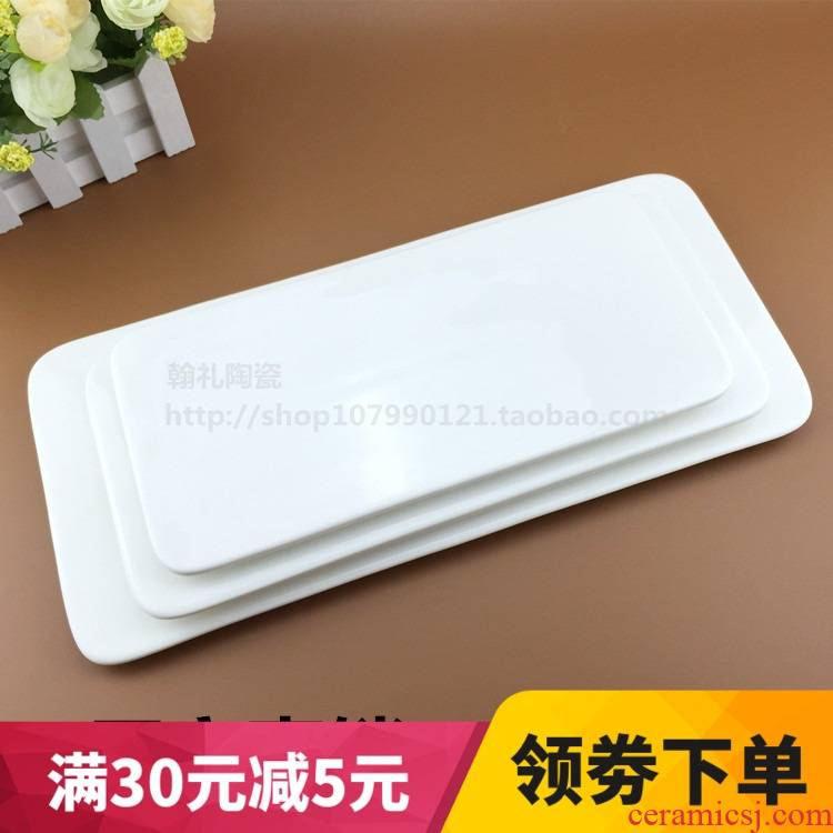 View the best package mail pure white ceramic plate western food steak pan west dessert mousse cake tray was a rectangle