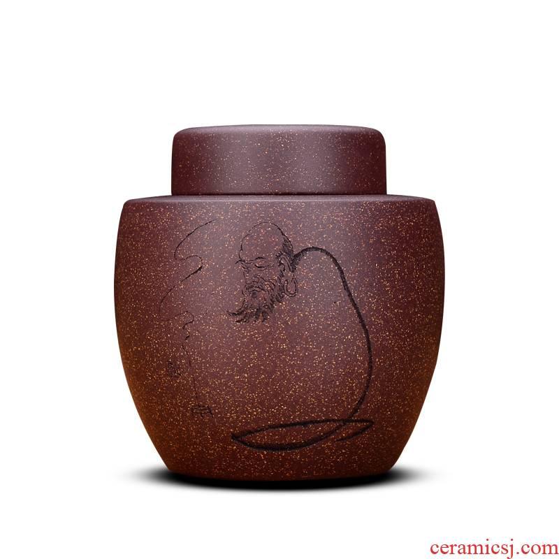 Shadow at yixing purple sand tea pot loose tea sealing up POTS pu 'er small ceramic tea barrel moistureproof HZ