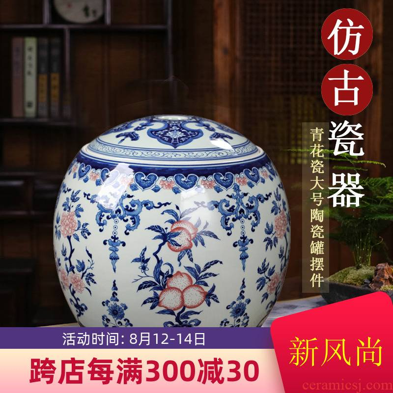 Restoring ancient ways of jingdezhen blue and white porcelain jar antique pottery vessels furnishing articles storage tank with cover home sitting room adornment