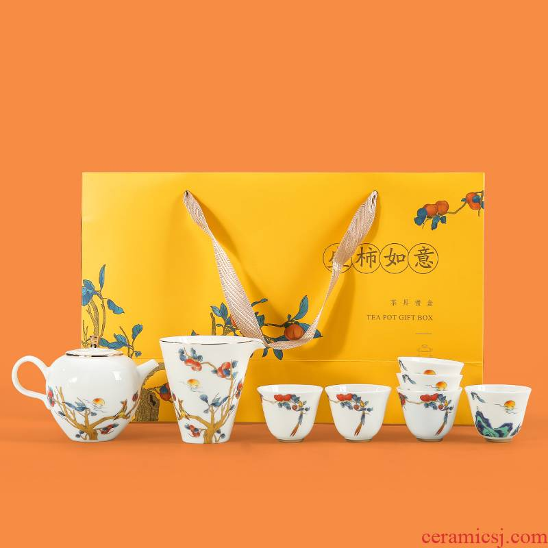 . Poly real scene dehua white porcelain kung fu tea set household contracted small Chinese set of high - end custom gift set GaiWanCha