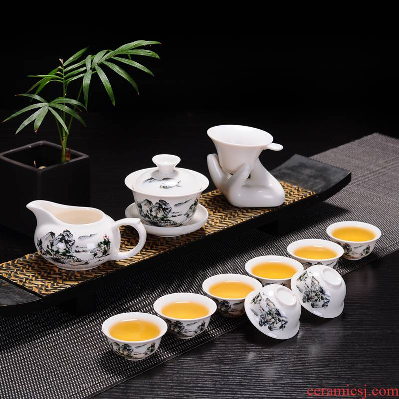 Ceramic tea set with only three of a complete set of tureen fair keller cup) contracted household kung fu tea set on sale