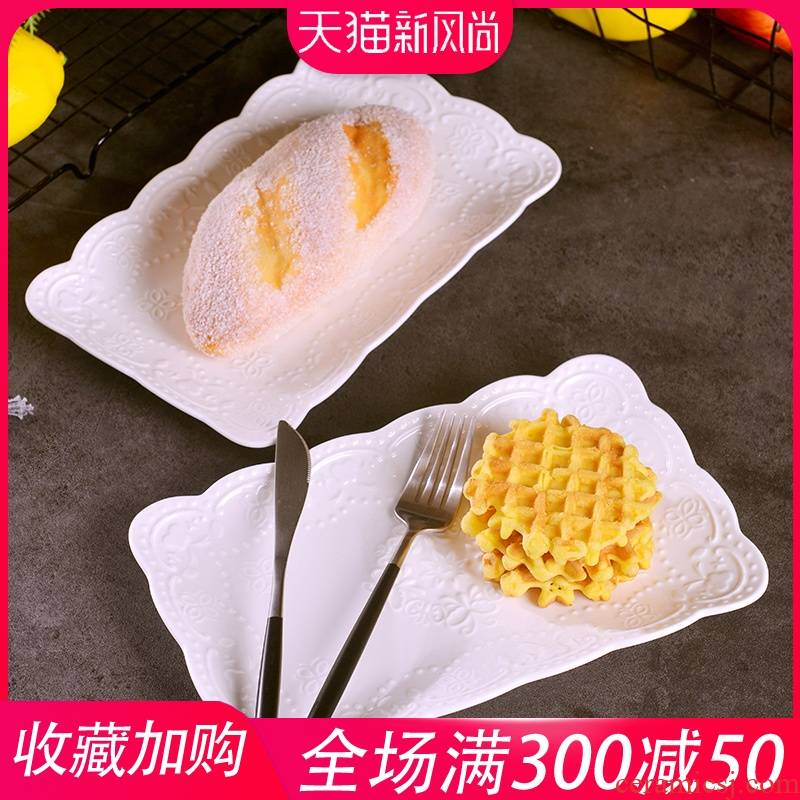 Jingdezhen ceramic dessert plate 10 inches relief grain rectangular dish dish home European creative fish dish dishes