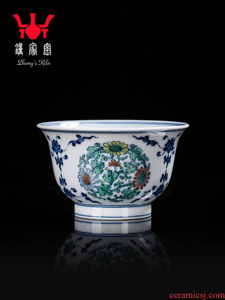 Clock home trade, one cup of single CPU jingdezhen blue and white chenghua dou CaiTuan by firewood grain pressure hand kunfu tea cups