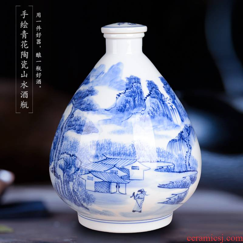 Hand - made 10 jins bottle of blue and white porcelain jars of jingdezhen manual mercifully decorative bottle bottle sealed jar of wine collection