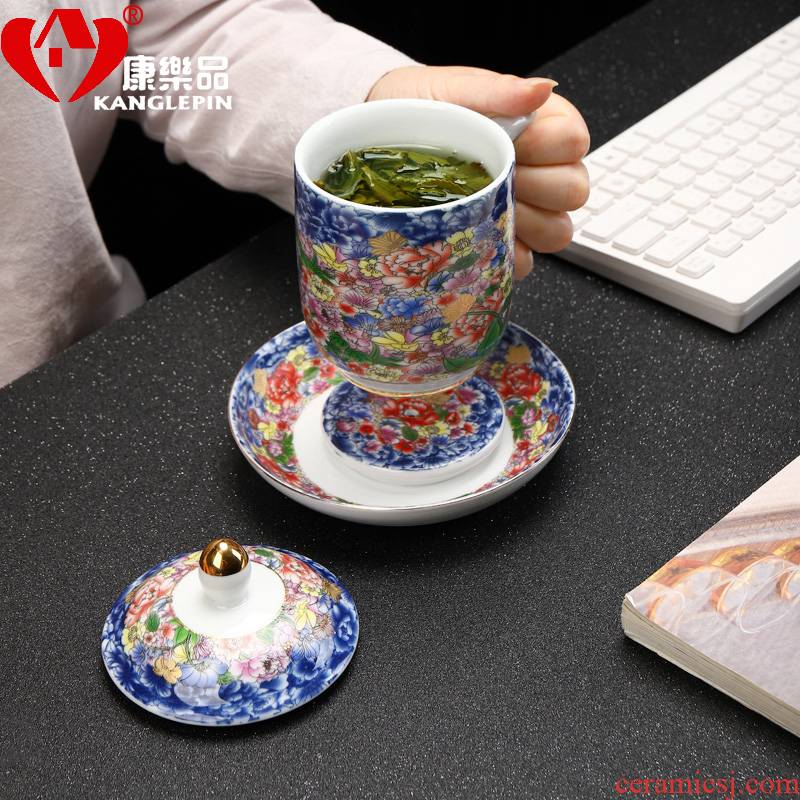 Recreational product jingdezhen flower splendid office tea colored enamel cup tea cups have the ceramic filter