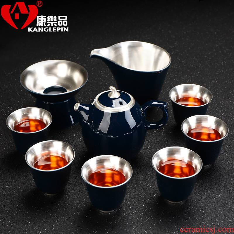 Recreational product jingdezhen 999 sterling silver tea set high round the teapot teacup ceramic Japanese household tea sets gift box