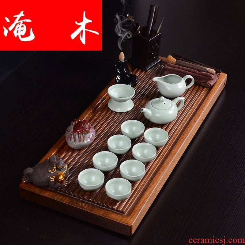 Submerged wood real wood chicken wings wood tea tray was flowing ceramic kung fu tea set four unity of electrical appliances