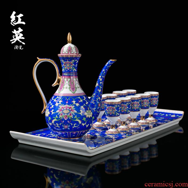 Jingdezhen colored enamel paint with tray was drag wine wine suit household of Chinese style antique wine pot liquor cup of wine
