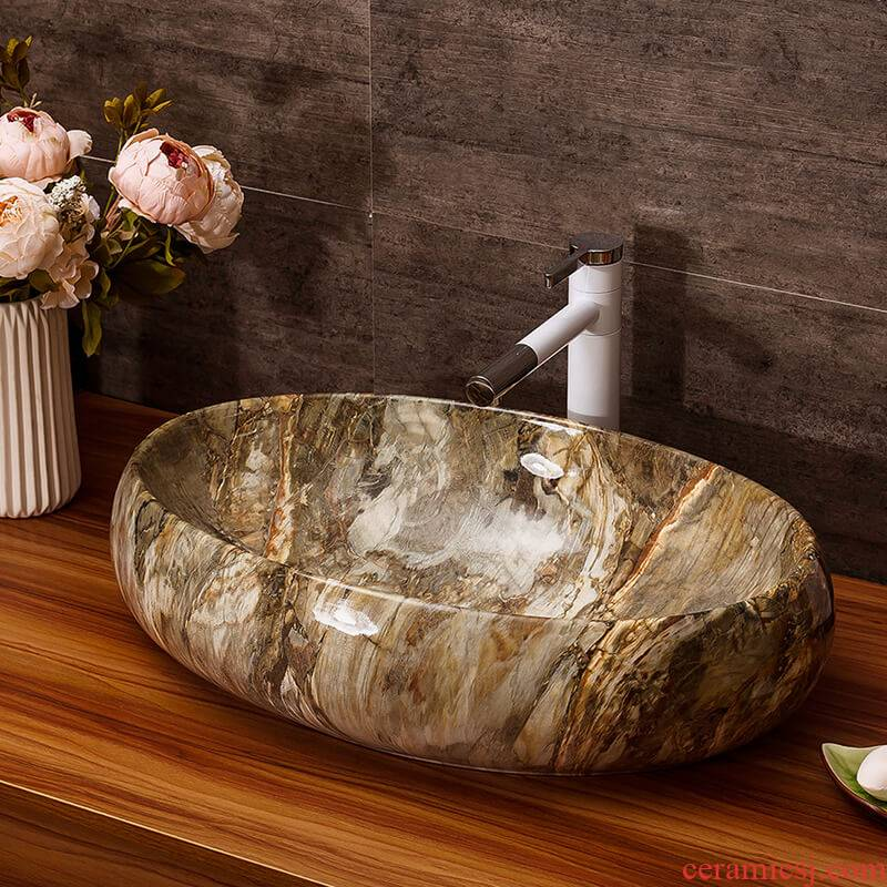 Ceramic lavabo hotel bathroom wash gargle basin faucet sets of archaize sinks the balcony on the home plate