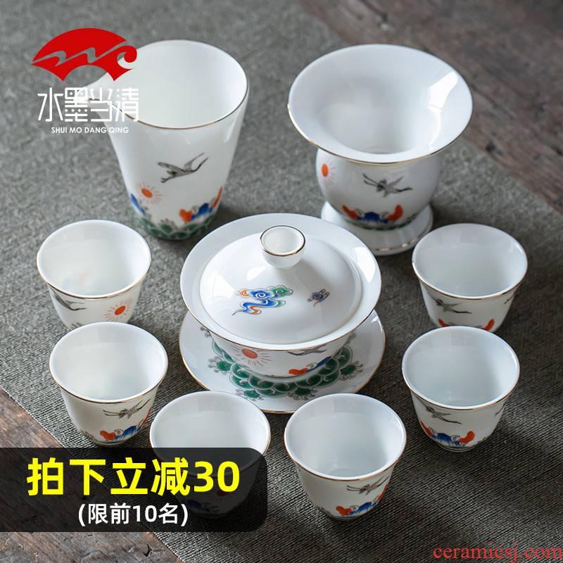 Suet jade tureen tea set dehua white porcelain household ceramics kung fu tea gift boxes of high - grade office