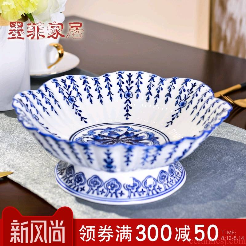 New Chinese style ceramic fruit compote of blue and white porcelain household 'lads' Mags' including nuts consecrate Buddha GongPan sitting room for tea table furnishing articles