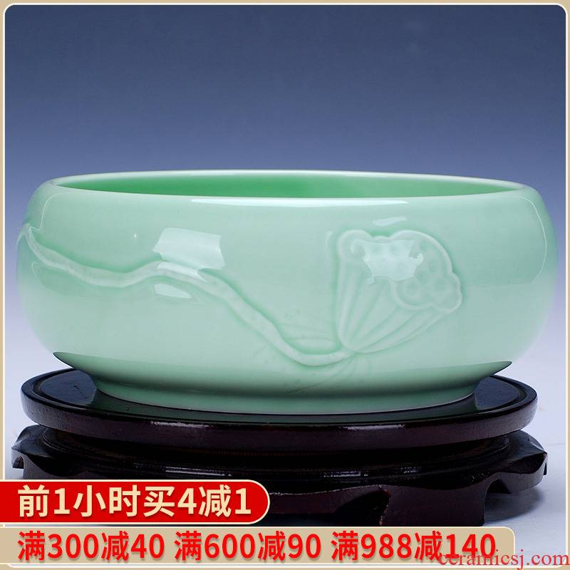 420 jingdezhen ceramic green glaze porcelain goldfish tank sitting room adornment is placed brocade carp cylinder lotus basin