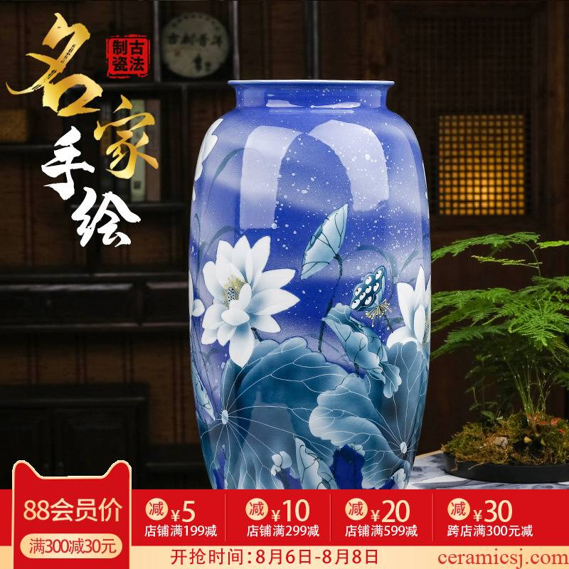 Jingdezhen blue and white porcelain painting lotus flower vase is placed high water raise lucky bamboo 50 large sitting room of Chinese style ceramic bottle