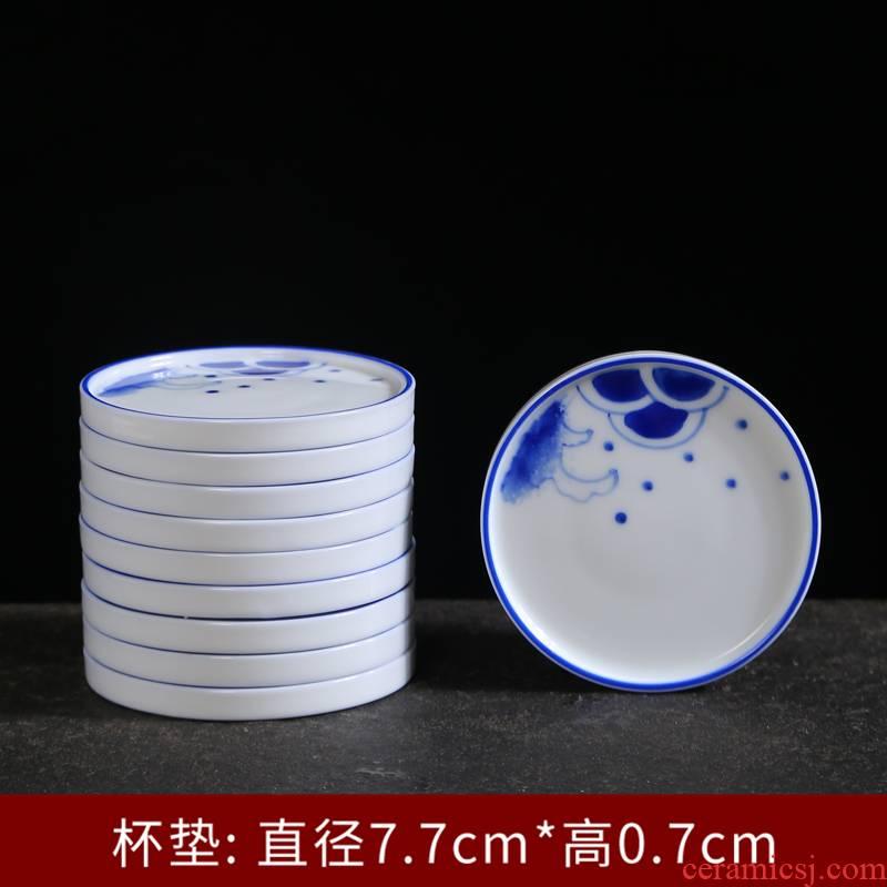 Hand - made ceramic cups insulation pad creative Japanese teacup saucer plate mat tea cup tea accessories tea set